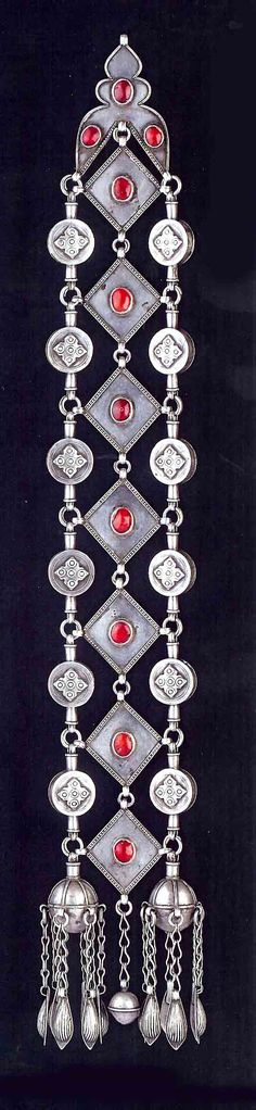 Central Asia | Braid ornament; silver and carnelian. Ersari Turkoman || Bir collection