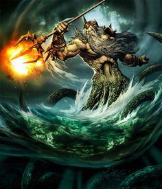 Poseidon, lord of the sea, horses, sunken ships, sailors, and boats
