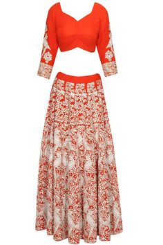 Red mithu embroidered lehenga set available only at Pernia's Pop Up Shop.