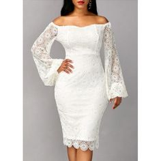 On Sale for $56.53 - Long Sleeve White Off the Shoulder Sheath Dress