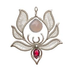 Serenity Pendant - front. Wear it on both sides. Handmade silver pendant, lightweight pendant with chalcedony and garnet gemstones, 4 cm wide, 4.3 cm long handmadeearrings #giftideas #uniquedesigns #silverearrings