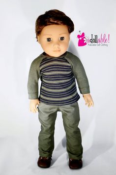 Fits like American Girl doll clothes, olive green baseball tee and long pants / 18 inch boy doll clo American Boy Doll, 18 Inch Boy Doll, Boy Doll Clothes, Jane Clothing, Wellie Wishers, Boy Pictures, Twill Pants, Sewing Studio, Free Sewing