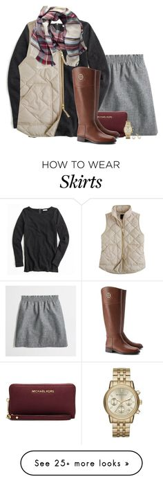 """""""Cream vest, gray skirt, plaid scarf"""" by steffiestaffie on Polyvore featuring J.Crew, MICHAEL Michael Kors, Pieces, Tory Burch and Michael Kors"""