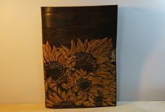 Leather notebook travel book diary journal Handmade A5 sunflower custom vintage notebook/travel book/diary/journal