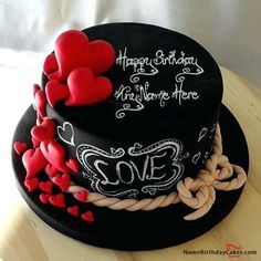 Beautiful Birthday Cakes also attractive birthday cake also birthday cake ideas also fancy birthday cakes 50 Write name on Hearts Chocolate Birthday Cake For Lover. Make everyone's birthday special with name birthday cakes. You can add photos now. Fancy Birthday Cakes, Birthday Cake Writing, Birthday Cake For Husband, Birthday Wishes Cake, Cookie Cake Birthday, Beautiful Birthday Cakes, Birthday Cake Decorating, Happy Birthday, Romantic Birthday