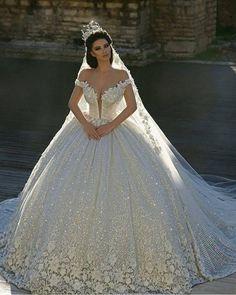 1932e942a4a 2019 Off Shoulder Lace Appliques Ball Gown Wedding Dresses Sequined Bridal  Gowns Chapel Train Formal Church Arabic Dubai Luxurious E25