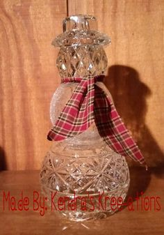 """Handmade Glass Snowman ~ Made from upcycled glass ~ Join my FB group """"All Things Hand Kree-ated"""" to see more of my upcycled glass pieces Snowman Crafts, Christmas Projects, Holiday Crafts, Christmas Bulbs, Christmas Crafts, Christmas Decorations, Snowman Ornaments, Christmas Things, Garden Decorations"""