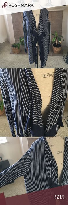 Striped Knit Cardigan Navy and white striped cardigan in size XXL by GAP. Waterfall collar. Cotton. GAP Sweaters Cardigans