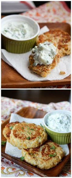 Chickpea Cakes with Cucumber-Yogurt Sauce