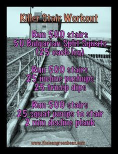 Killer Stair Workout - easy if you live in an apartment building! Stadium Workout, Bleacher Workout, Paper Plate Workout, Push Pull Workout, Monday Workout, Sweat It Out, Jump Squats, Training Plan, I Work Out