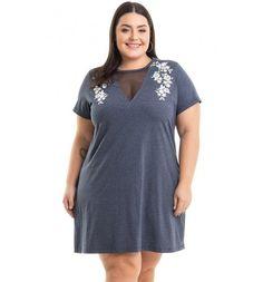 Vestido Meia Malha Cinza com Estampa Miss Masy Plus Size  #modaplussize #roupasplussize #roupasfemininas #modafeminina #plussize #beline