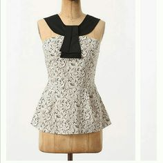 Anthropologie Girls from Savoy Neo tank Gently used cream and black tank in floral bird print. Black front collar and detail. Back half zip. Stretchy in back. No obvious signs of wear. Size tag is crisp. Size 10. Measures approx 17 inches armpit to armpit unstretched,  24 top of shoulder to hem, 14 armpit to hem. No trades or PayPal. Anthropologie Tops Tank Tops