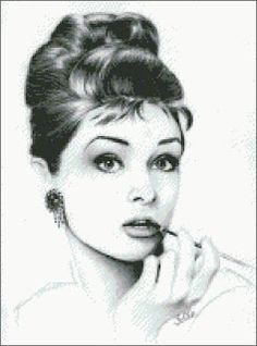 free cross stitch pattern (chart) by Thomas Gallery)  Audrey Hepburn cross stitch pattern in 20 colors. 150w x 203h stitches