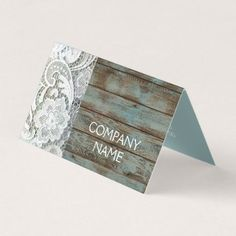 elegant rustic country white lace blue barn wood card - real estate gifts business cyo diy customize