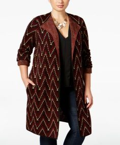 1615345373f20 NY Collection Plus Size Jacquard-Knit Sweater Jacket  29.99 NY Collection s  richly-patterned plus
