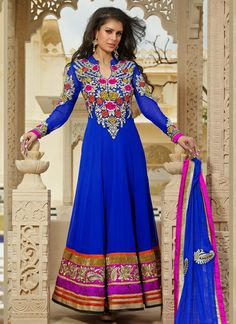 Hit the streets in style by draping this mesmerizing blue faux georgette party wear salwar suit adorned with fancy beads, floral patch, kasab, resham and fancy laces with hint of bright new color . The suit is a Indian Wedding Outfits, Pakistani Outfits, Indian Outfits, Salwar Kameez, Anarkali Churidar, Long Anarkali, Desi Clothes, Indian Clothes, Indian Sarees Online