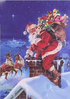 """Down through the chimney with good St."" Happy Christmas Eve, Merry Christmas and Happy New Year to ALL! Christmas Scenes, Father Christmas, Vintage Christmas Cards, Santa Christmas, Christmas Pictures, Before Christmas, Winter Christmas, Primitive Christmas, Country Christmas"