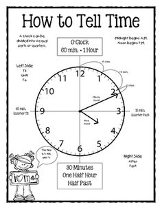 How to Tell Time Poster by Sleepless Nights Telling Time Activities, Teaching Time, Teaching Math, Math Activities, Telling Time Games, Teaching Money, Teaching Multiplication, Teaching Geography, Math Vocabulary