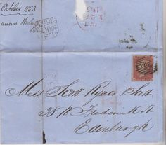 1853 QV LONDON WRAPPER WITH 3 MARGIN 1d RED IMPERF STAMP MAILED TO EDINBURGH     eBay