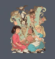 This super sweet tee features a crossover between Alice in Wonderland and the world of Studio Ghibli. It's so cool, anyone who just looks at it will feel as if they've been spirited away to another la