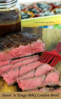 Sweet 'n Tangy BBQ London Broil! l Meal Planning Maven's Blog #fathersdaydinner #bestBBQrecipes So juicy + easy to make!