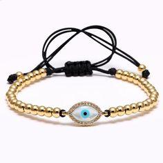 Evil Eye Amulet Pink Macrame Cord Breast Cancer Awareness Adjustable Bracelet