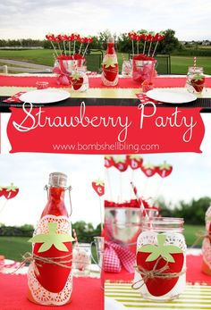 This Strawberry Themed Birthday Party is seriously one of the cutest things I have ever seen!! The menu also look DEEEELISH!