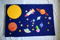 Pink and Green Mama: Homemade Outer Space Felt Board and Felt Build A Rocket Game