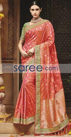 PEACH KANJIVARAM SILK SAREE WITH EMBROIDERY WORK  #Saree #GeorgetteSarees #IndianSaree #Sarees  #SilkSarees #PartywearSarees #RegularwearSarees #officeWearSarees #WeddingSarees #BuyOnline #OnlieSarees #GeorgetteSarees #NetSarees #ChiffonSarees #DesignerSarees #SareeFashion