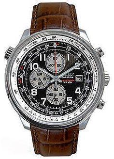 Citizen Eco-Drive Sport Chronograph Steel Case  Brown Leather Strap Men's Watch CA0390-14E