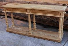Furniture, Unfinished DIY Narrow Rustic Pine Console Table With Storage Made From Reclaimed Wood Ideas ~ Rustic Console Table