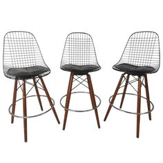Set of Mid-Century Modern Barstools In the Style of Harry Bertoia for Knoll | From a unique collection of antique and modern stools at https://www.1stdibs.com/furniture/seating/stools/