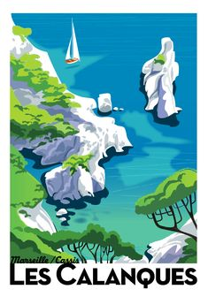 Illustration by Richard Zielenkiewicz, Les Calanques. - Illustration by Richard Zielenkiewicz, Les Calanques. New to Mobile Video Studio? Tourism Poster, Poster Ads, Vintage Travel Posters, Vintage Ads, Vintage Style, Menu Vintage, Design Vintage, Beach Posters, Travel Ads