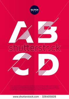 Typographic alphabet in a set with vibrant colors and minimal design - stock vector