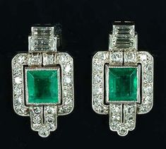 Art Deco Emerald & Diamond Earrings 1925