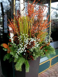 Gardening Autumn - Winter Container Planting, container gardening in the winter, evergreen container, color in containers - With the arrival of rains and falling temperatures autumn is a perfect opportunity to make new plantations Christmas Urns, Christmas Planters, Fall Planters, Outdoor Christmas Decorations, Cement Planters, Xmas, Evergreen Container, Winter Container Gardening, Fall Container Plants
