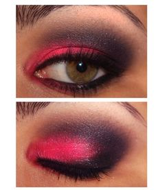 neon pink smoke eye makeup - Pausa Para Feminices