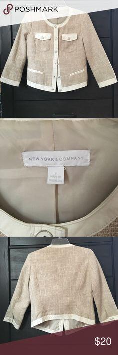 NY&Co. Tweed Jacket Beige and white tweed jacket. Gently worn-like new condition. Size 2. New York & Company Jackets & Coats Blazers