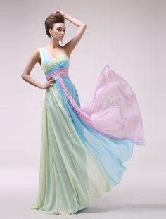 Vestido de noche de chifón de multicolores de un solo hombro - Milanoo.com