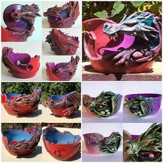 Different Dragons from the past year. The latest version yarn bowl is the set of five at the top left of the image. As long as you keep wanting them …I will keep making them :-) Made to order at earthwoolfire.etsy.com