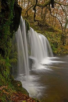 Scwd Ddwli waterfall in Brecon Beacons National Park, Wales (by flash of light).