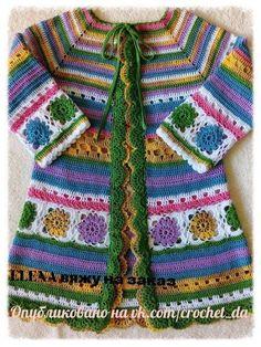 Ideas crochet granny square coat blankets for 2019 Crochet Coat, Crochet Jacket, Crochet Cardigan, Crochet Granny, Crochet Clothes, Crochet Girls, Crochet For Kids, Toddler Dress Patterns, Mode Hippie