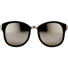 Linda Farrow Round Frame Sunglasses ($925) ❤ liked on Polyvore featuring accessories, eyewear, sunglasses, glasses, occhiali, black, matte sunglasses, round mirror sunglasses, round lens sunglasses and round sunglasses
