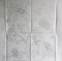 VINTAGE SILVER EMBROIDERY TRANSFER - LARGE JACOBEAN DESIGN