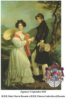 Max Duke in Bavaria and his cousin/bride Ludovika Princess of Bavaria.Their 7 children included the enigmatic Elizabeth Empress of Austria