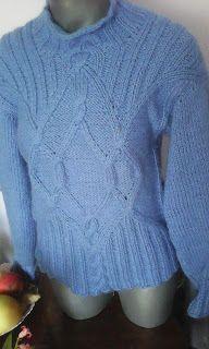 DIANA - Atelier handmade: Bluza albastra, tricotata cu torsade, din fir ango...