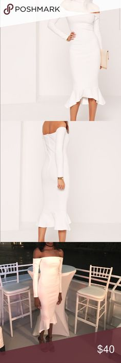 Missguided Off the shoulder fishtail dress Missguided Dresses Maxi