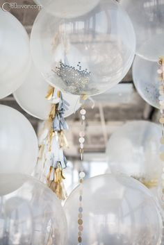 Tinsel & balloons decor #silver & white
