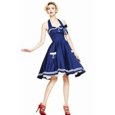 Hell Bunny Motley 50s Dress Navy Pin Up Rockabilly Retro Sailor Nautical