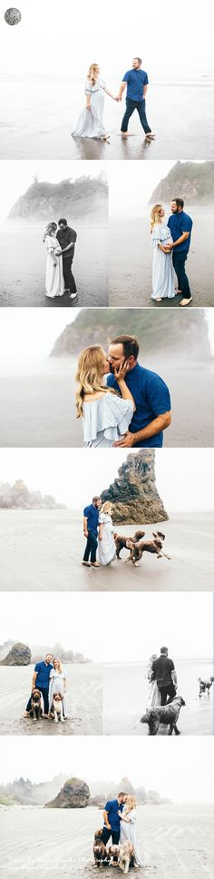 Romantic beach maternity pictures with dogs. Couple maternity picture ideas. Simple, sweet, organic.